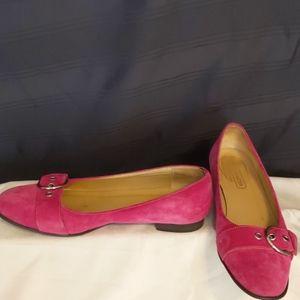 Coach Women's size 7B suede  pink flats